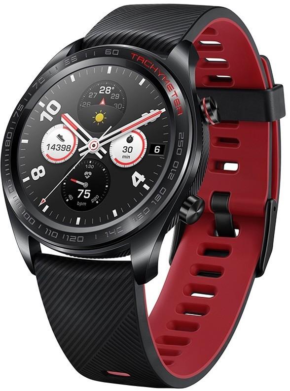 Montre connectée Honor Watch Magic (noir/rouge) + 2ème bracelet (bleu) + écouteurs