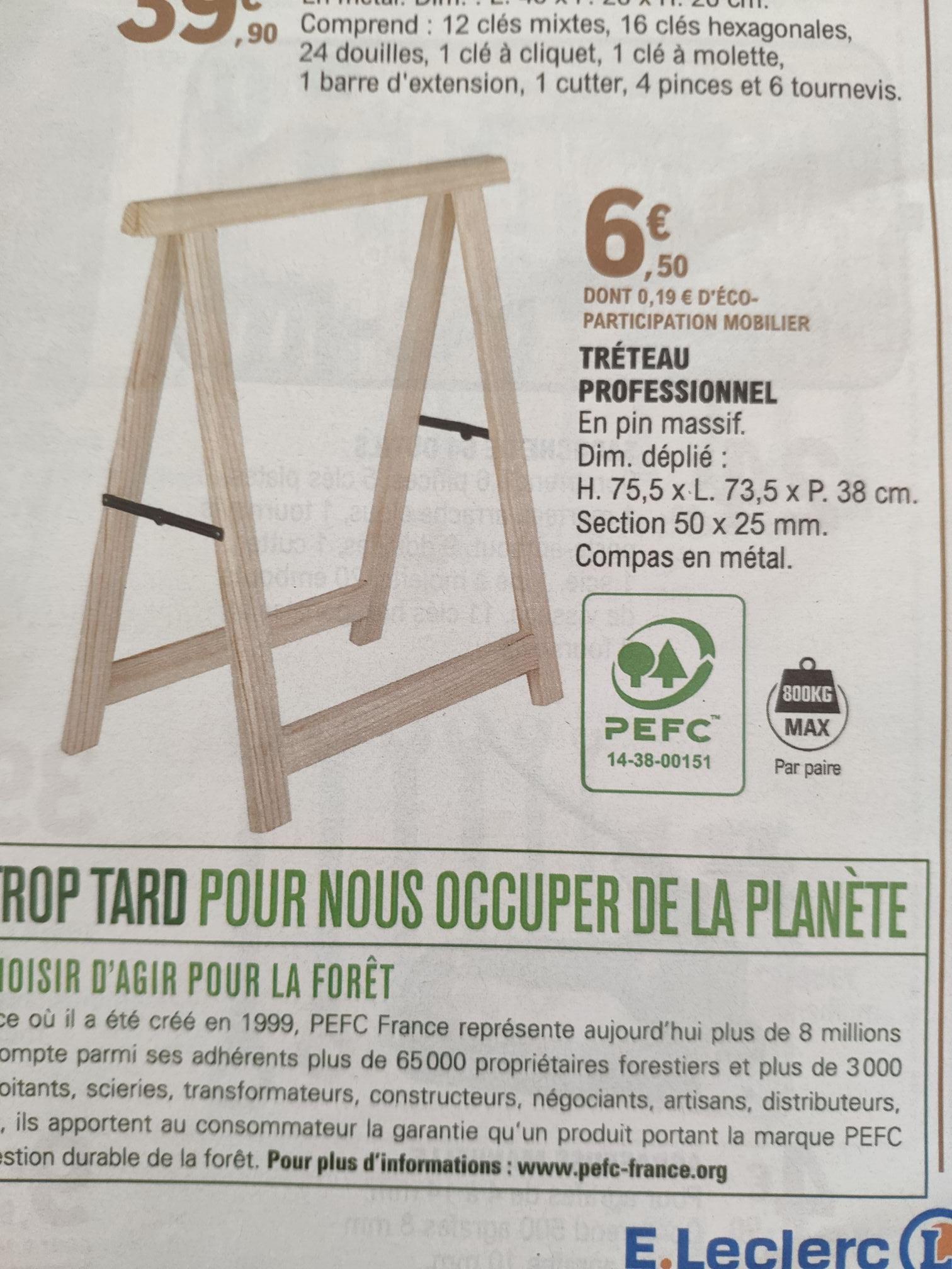Tréteau bois - Pin Massif
