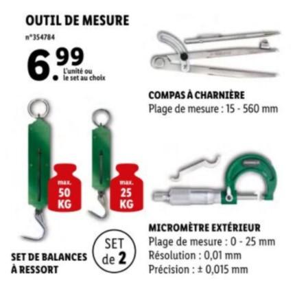 Sélection d'outils de mesure à 6.99€ - Ex : Micromètre, compas à charnière, set de balances à ressort