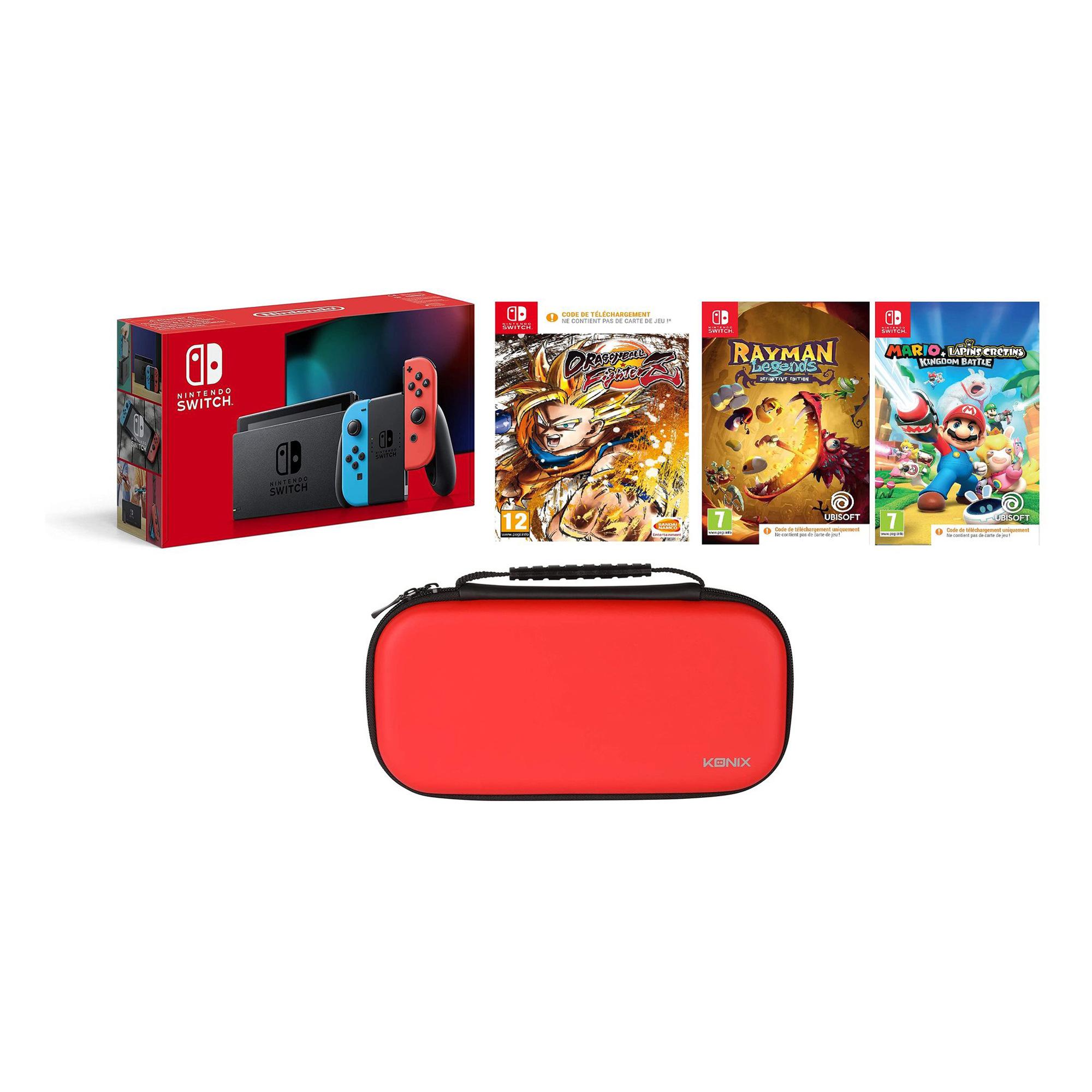 Pack console Nintendo Switch Neon + 3 jeux + Housse de transport