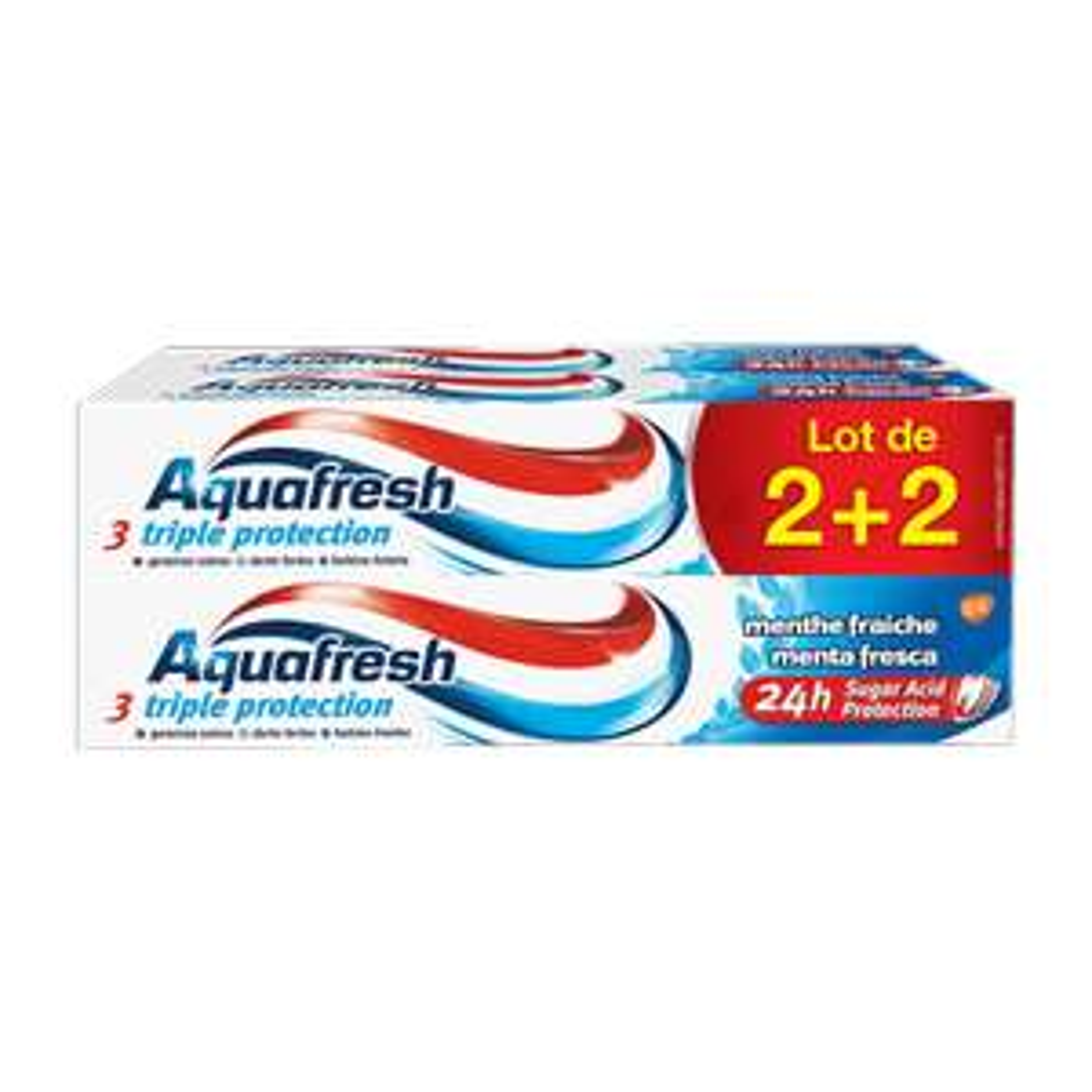Lot de 4 tubes de dentifrice Aquafresh triple protection menthe fraîche (4 x 75ml)