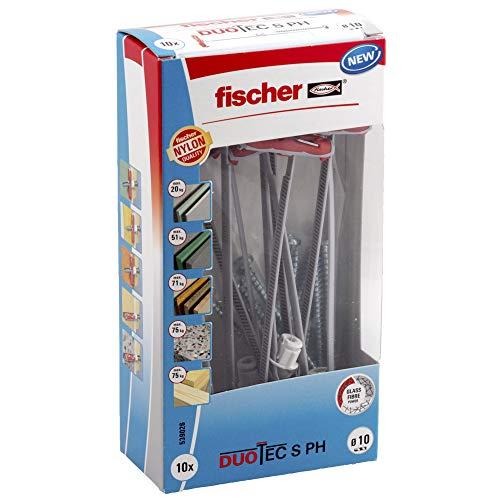 Lot de 10 Chevilles à bascule en nylon Fischer Duotec avec vis