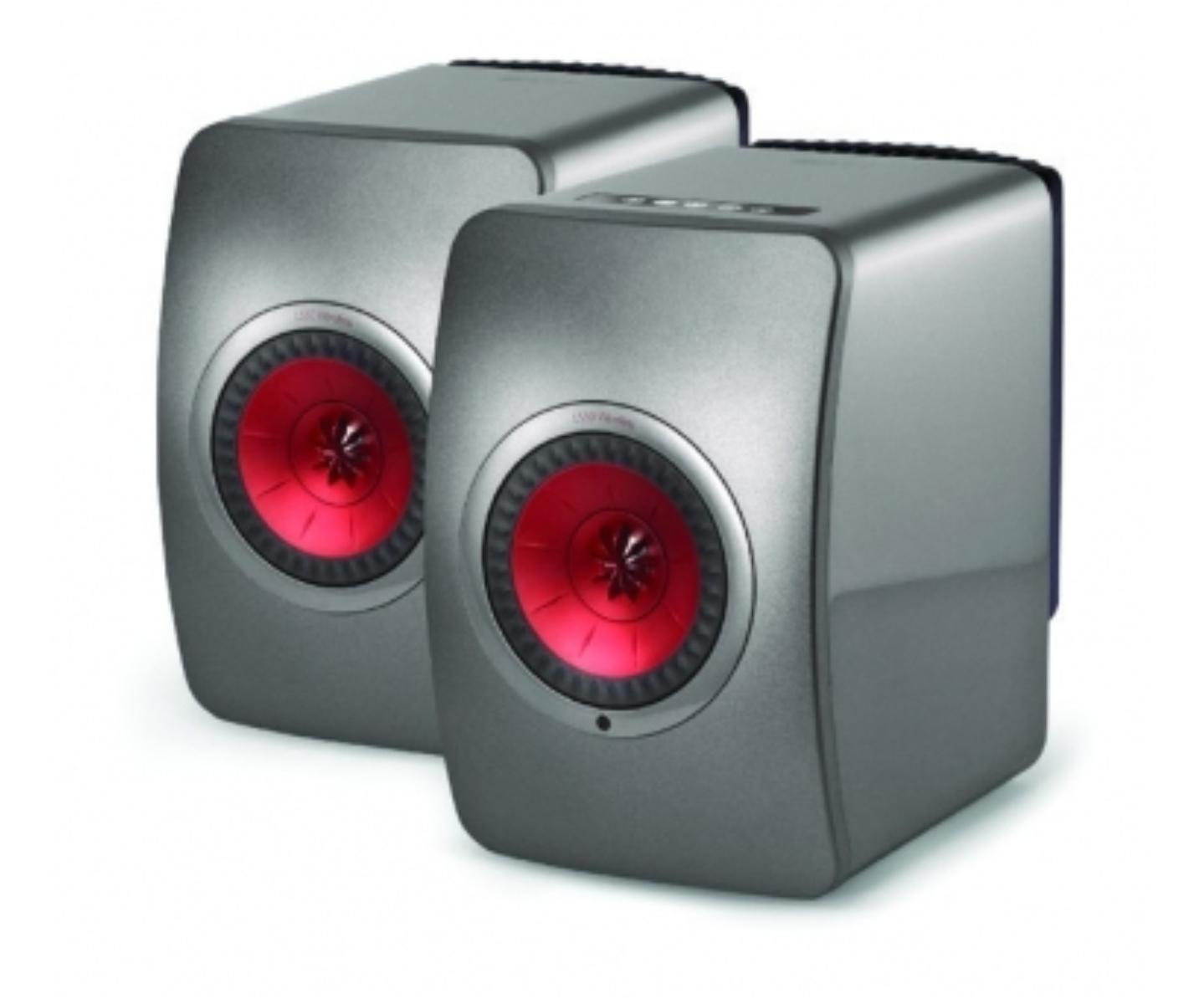 Paire d'enceintes sans-fil KEF LS50 Wireless (gris/rouge) - reconditionné stock B - CSMusikSysteme.net