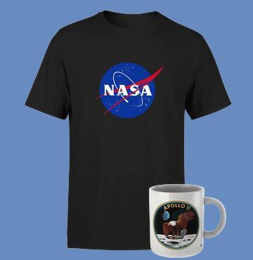 Pack Nasa : T-shirt pour Hommes ou Femmes + Mug au choix parmi une sélection