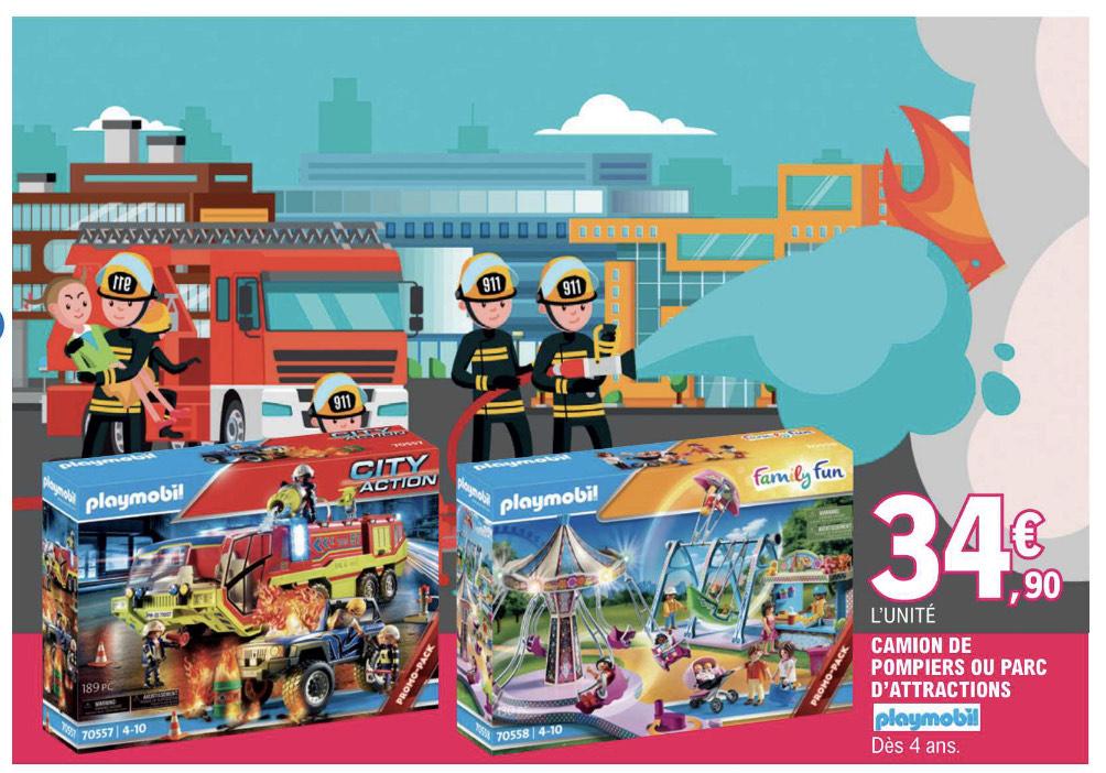 Jouet Playmobil Camion de Pompiers (70557) ou Playmobil Parc d'attraction (70558)
