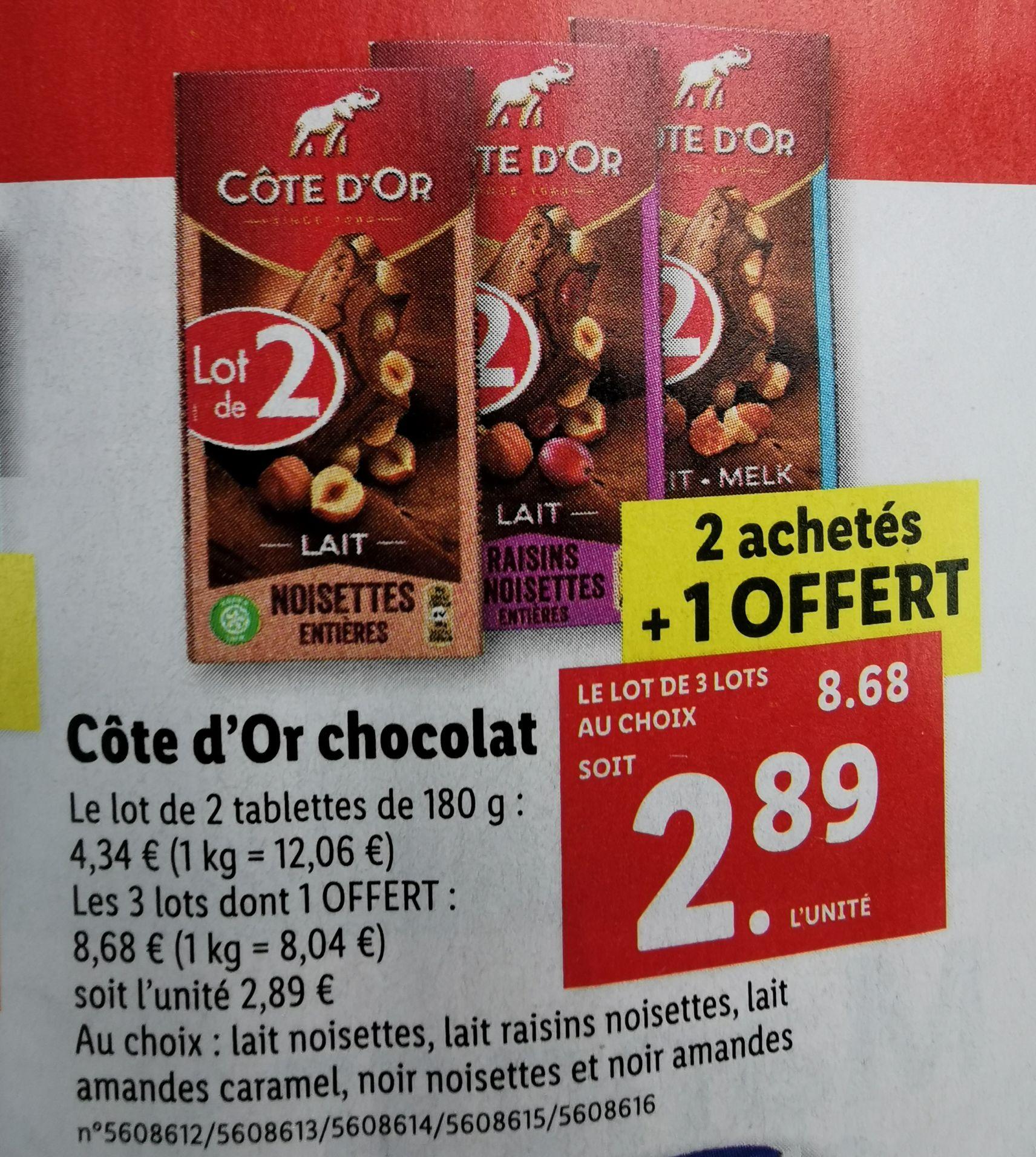 Lot de 3 paquets de 2 tablettes de chocolat Côte d'Or - 6x180 g, Variétés au choix