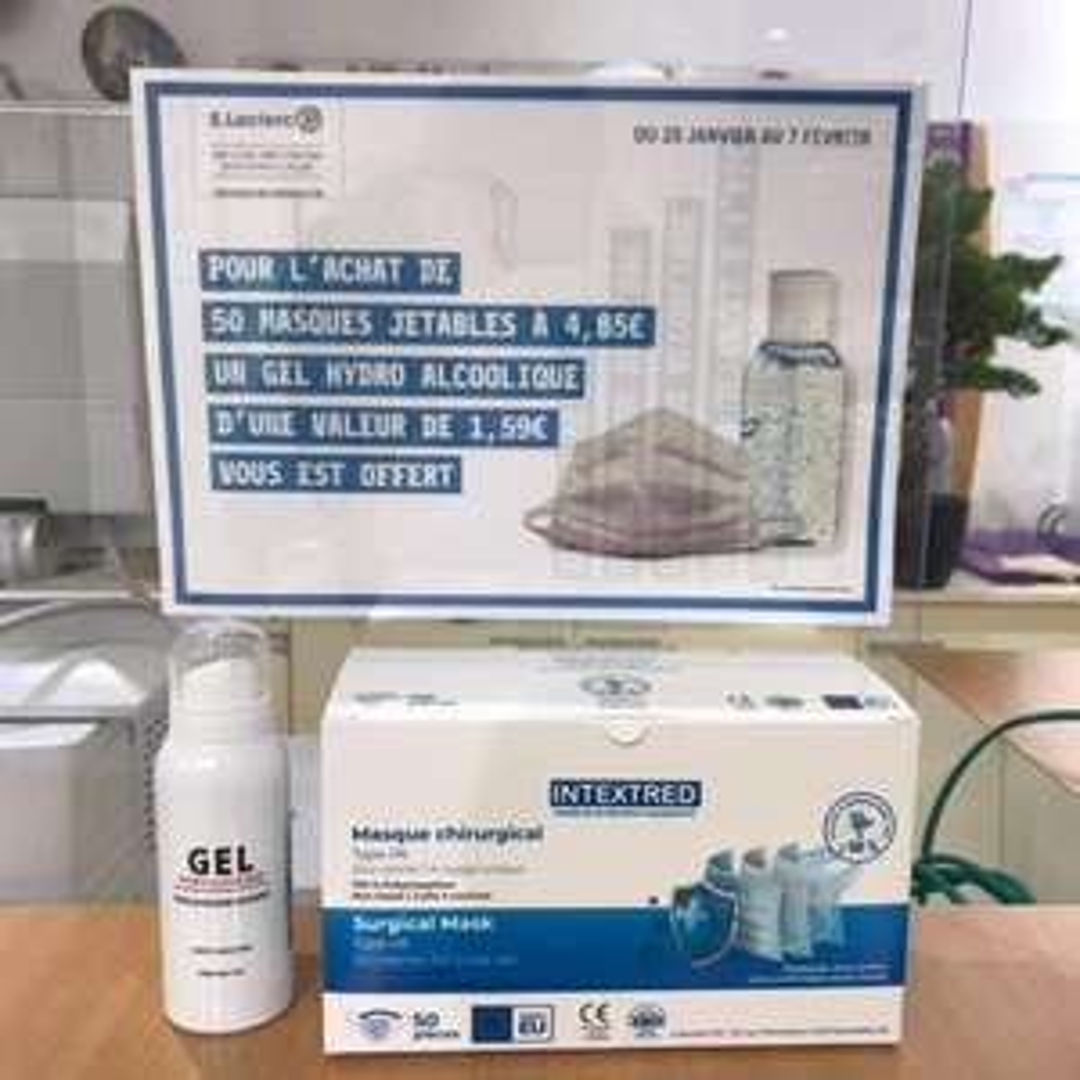 Boîte de 50 masques chirurgicaux Intextred (type IIR) + flacon de gel hydroalcoolique - Provins (77)