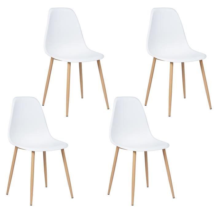 Lot de 4 chaises Charlton - Style scandinave, pieds en métal décor bois
