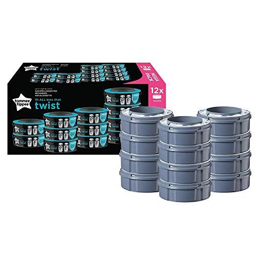 Lot de 12 recharges de poubelle à couche Tommee Tippee pour Twist & Click et Sangenic TEC