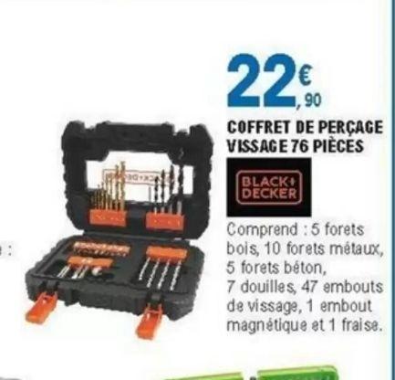 Coffret de 76 outils de perçage-vissage Black&Decker