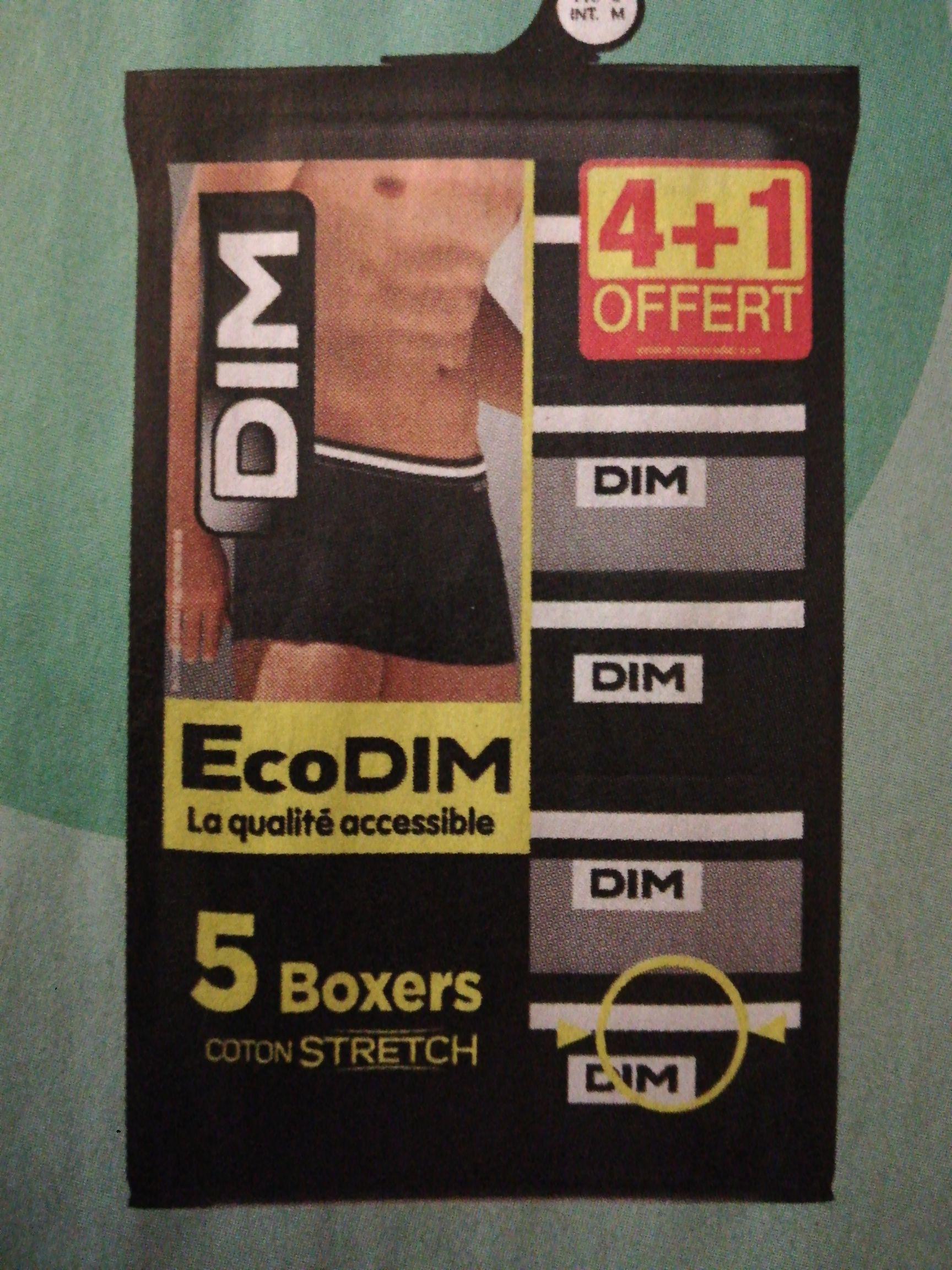 Lot de 5 boxers Dim ecodim (Via 6€ sur la carte fidélité)