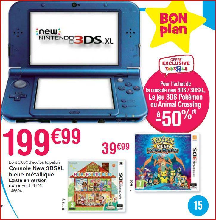 Console Nintendo New 3DS XL + Pokémon Mega Donjon Mystère ou Animal Crossing Happy Home Designer