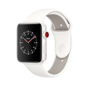 Montre connectée Apple Watch Series 3 GPS + Cellular - 38 mm, Bracelet sport, Céramique Blanc