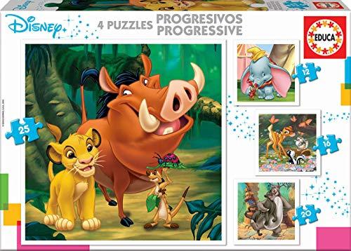 Boîte de 4 puzzles progressifs pour enfant Educa Disney Animals - 12+16+20+25 pièces