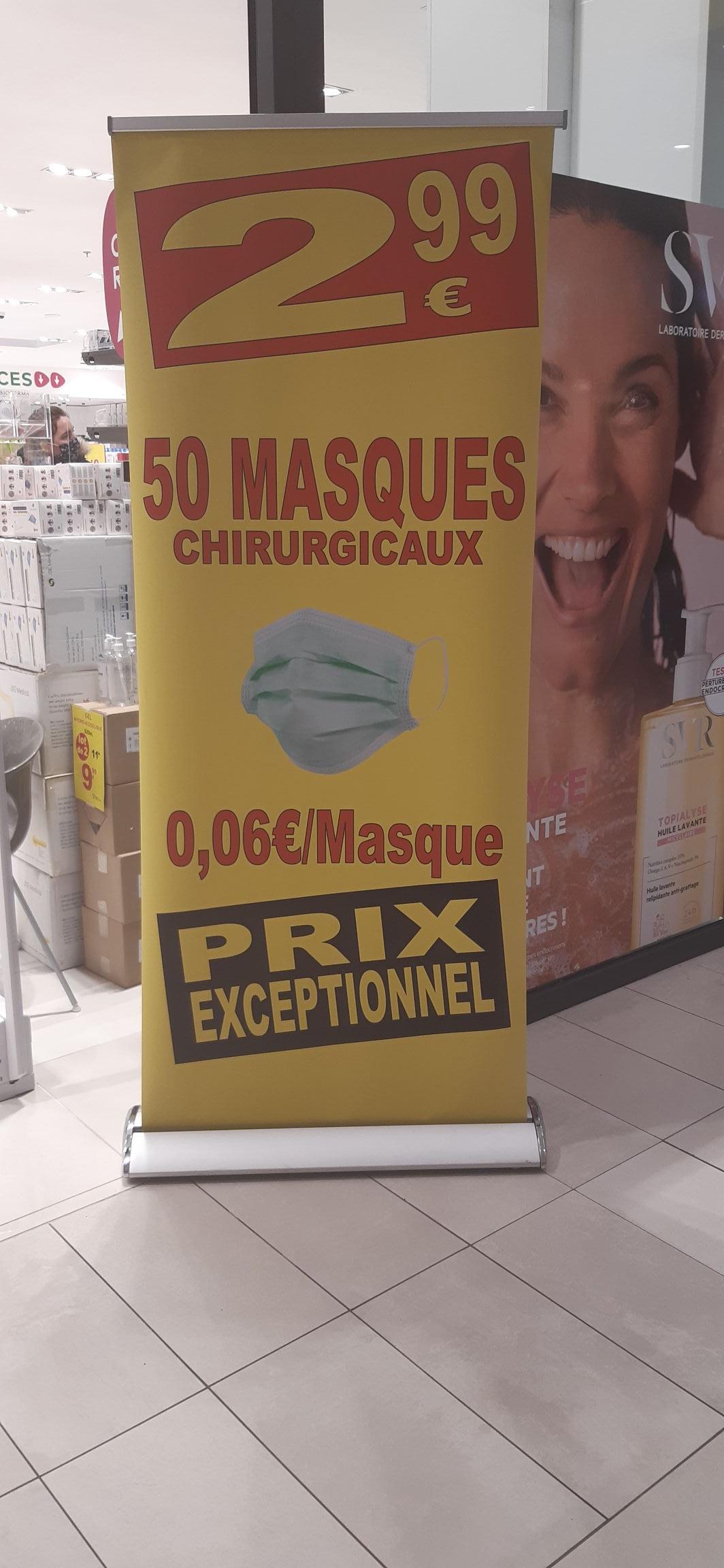 Boîte de 50 masques chirurgicaux - Pharmacie du centre commercial Carrefour Athis-Mons (91)