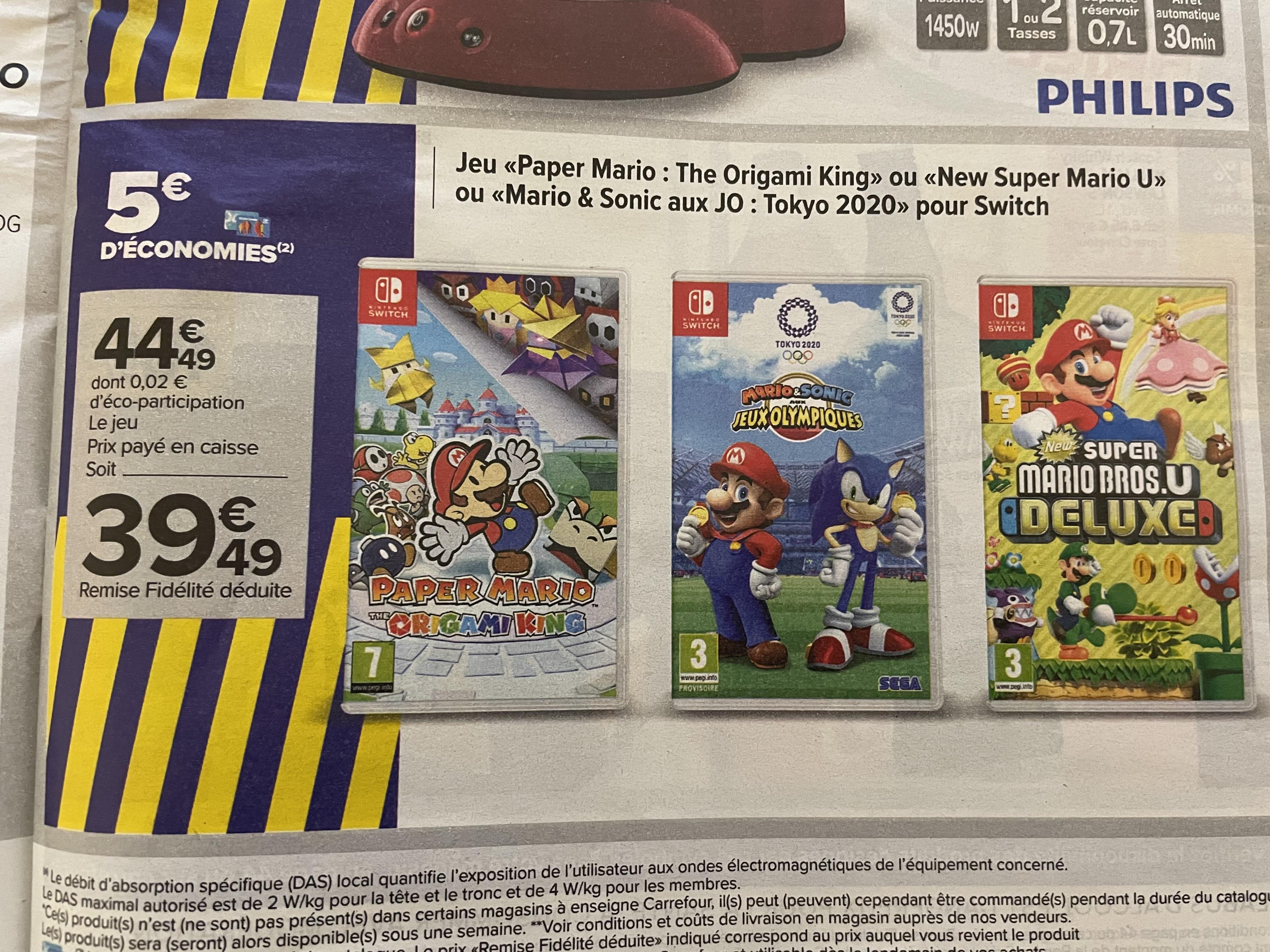 Sélection de jeux pour Switch à 39.49€ - Ex : New Super Mario Bros U. Deluxe (via 5€ sur la carte de fidélité) - Créteil Soleil (94)