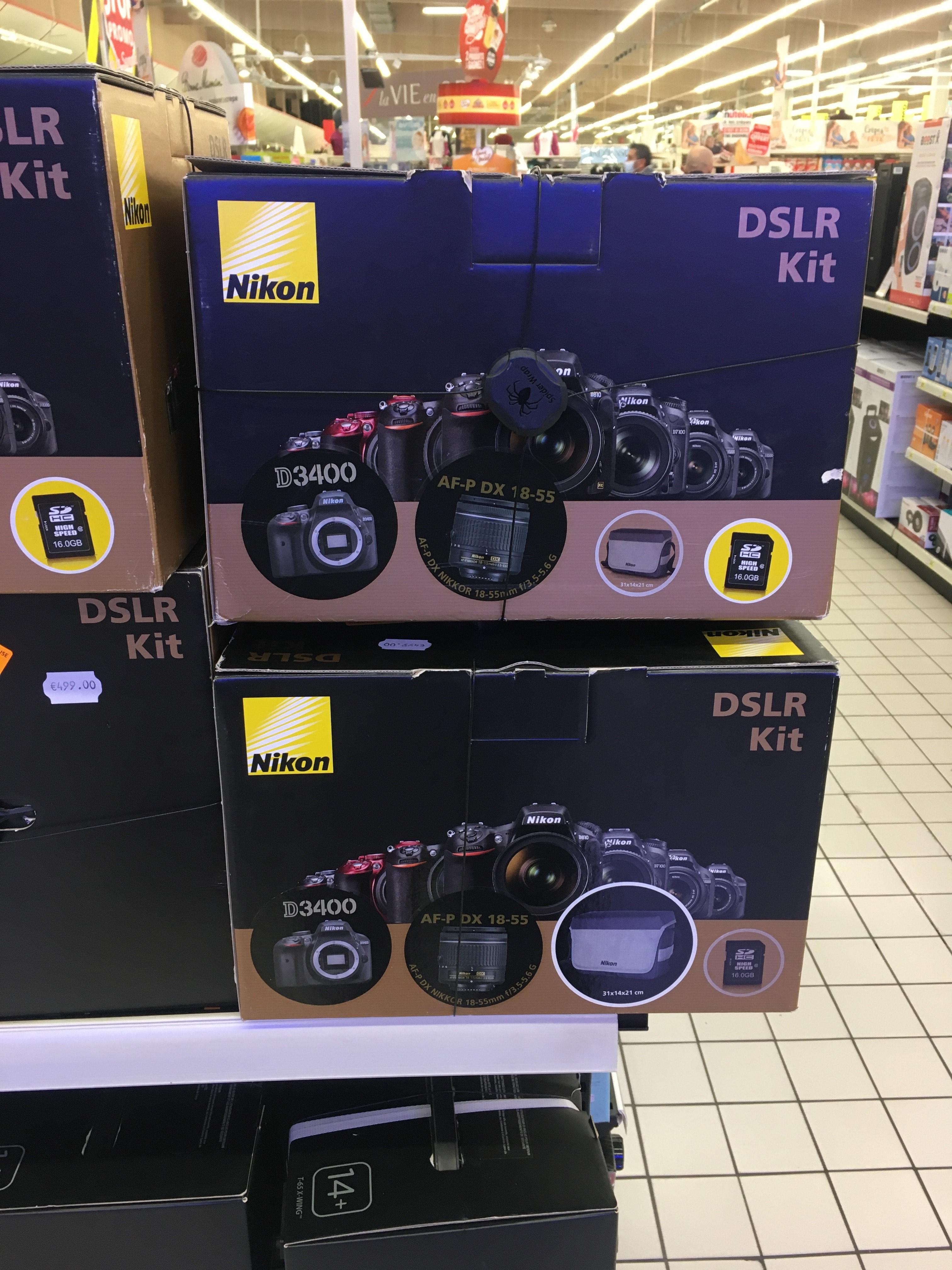 Kit appareil photo numérique Nikon D3400 (24.2 Mpix, CMOS) + objectif AF-P DX Nikkor 18-55mm - Mulhouse (68)