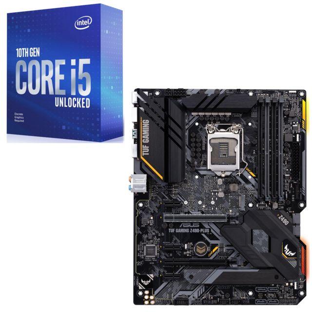 Processeur Intel Core i5-10600K (4.1 / 4.8 GHz) + Carte mère Intel Z490-Plus TUF Gaming