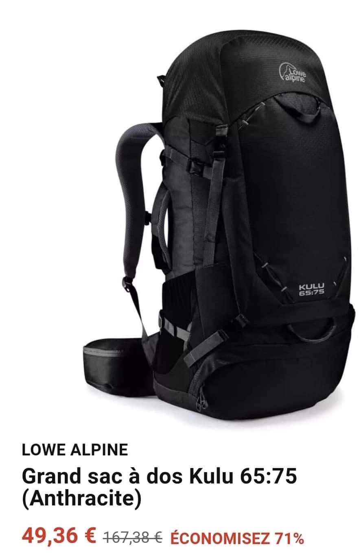 Sac de randonnée Lowe Alpine Kulu 65:75 - Anthracite