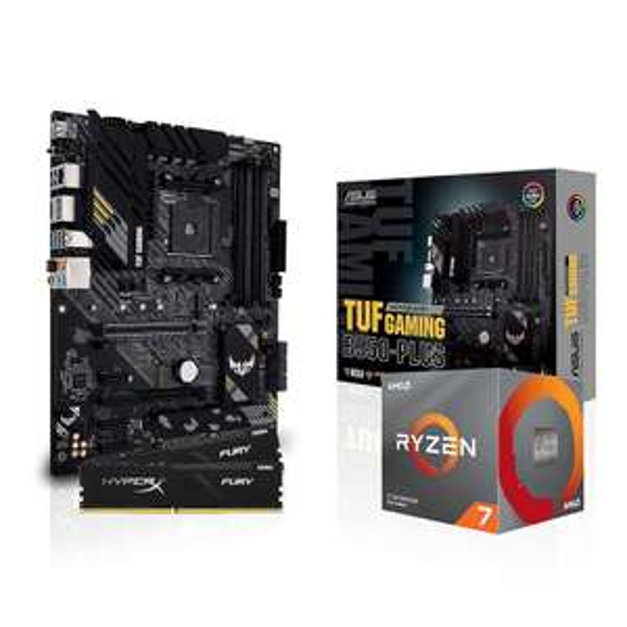 Kit d'évo PC - processeur AMD Ryzen 7 3700X (3.6 / 4.4 GHz) + carte-mère Asus B550 + kit de RAM HyperX Fury DDR4-3200 CL16 (16 Go)