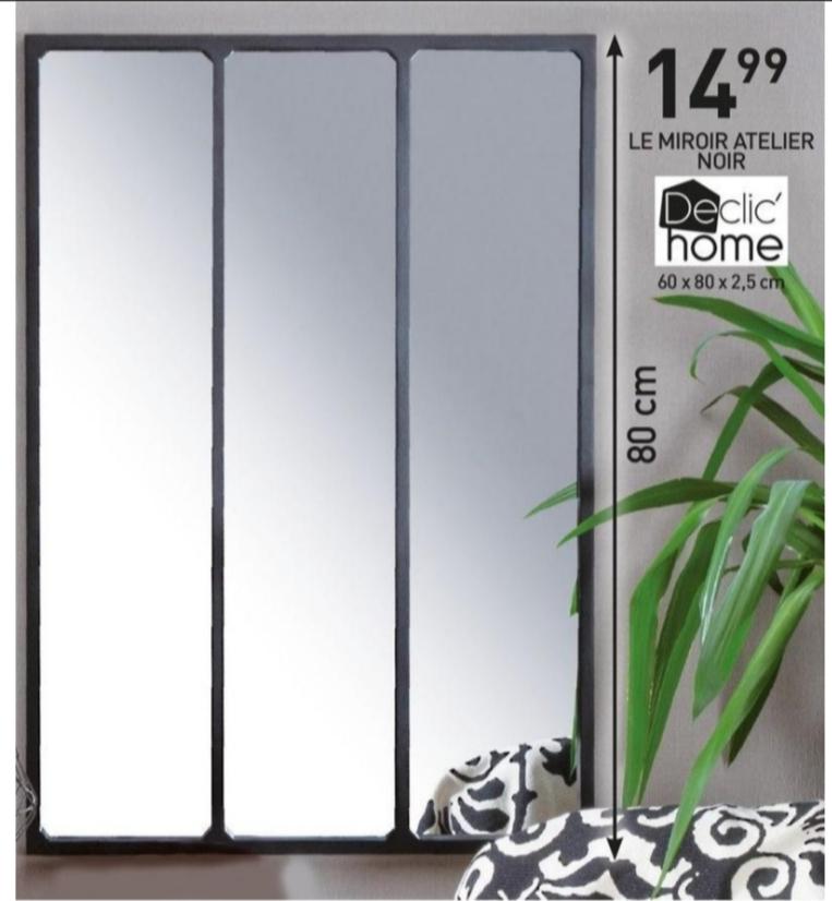 Miroir Atelier Noir Declic'Home - 60 x 80 x 2,5 cm