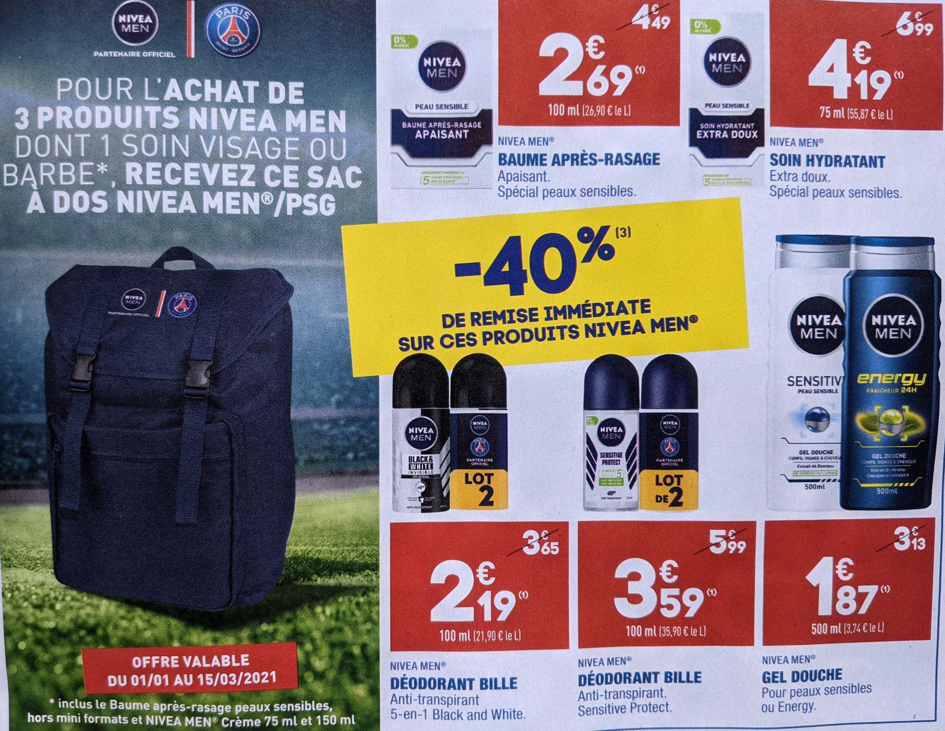 Sac à dos Nivéa Men PSG offert pour l'achat de 3 produits - Ex: 3 Lots de Déodorants Nivéa Bille