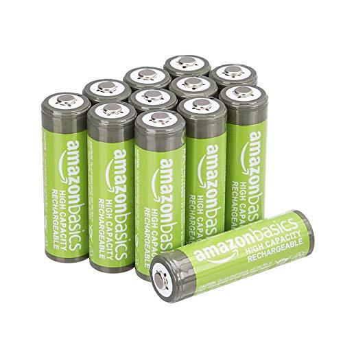 Lot de 12 Piles rechargeables AA AmazonBasics haute capacité - 2400 mAh, Pré-chargées