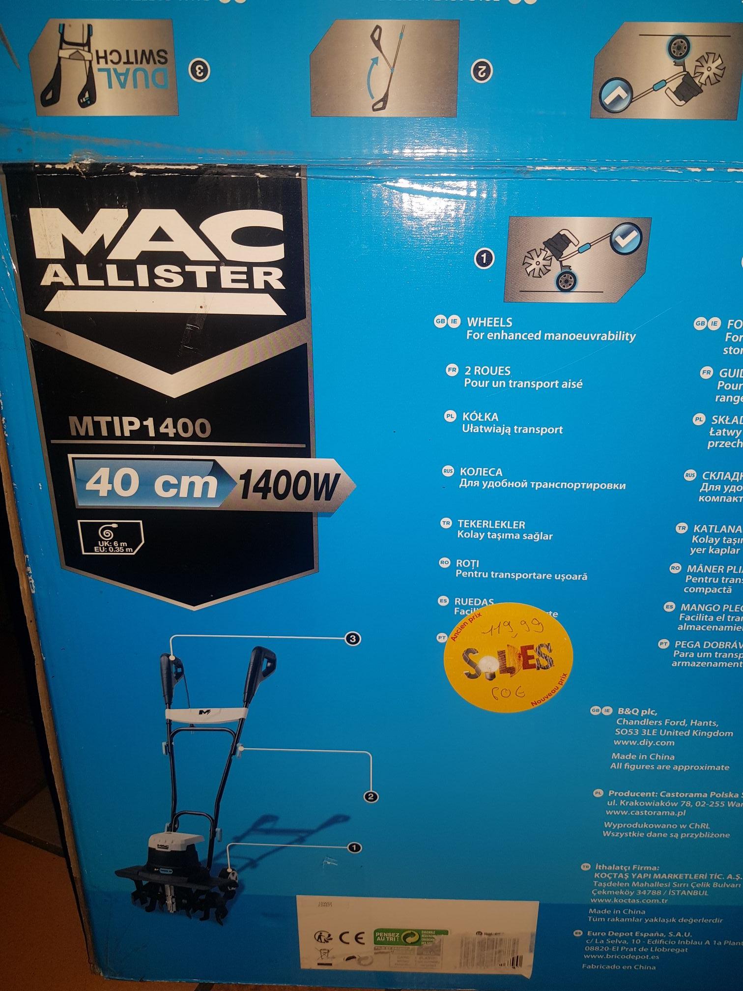 Motobineuse électrique Mac Allister mtip1400 (40cm 1400W) - Saint-Martin-d'Hères (38)