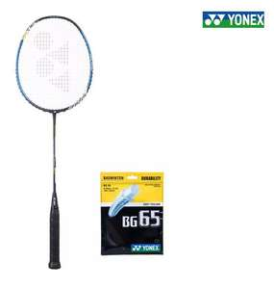 Lot de 2 Raquettes de badminton Yonex Voltric 0,6 DG Slim + cordage BG65