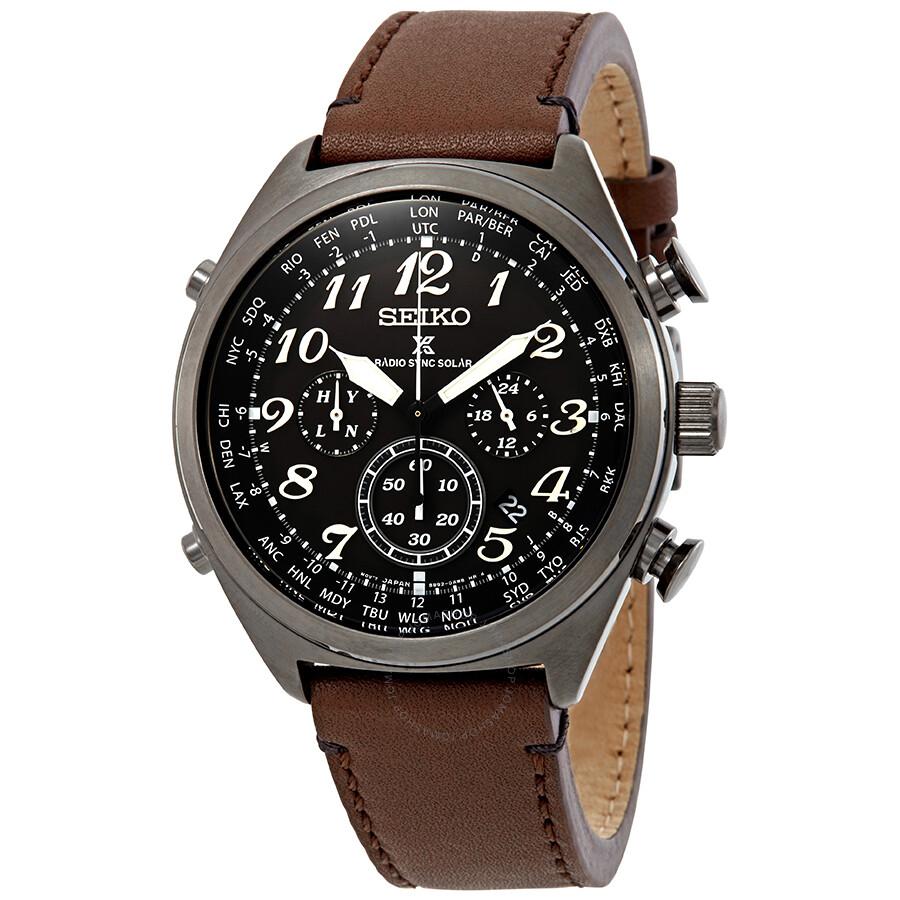 Montre automatique chronographe Seiko Prospex World Time Solar - Radio-Sync, Black Dial (Frais de livraison et de douanes inclus)