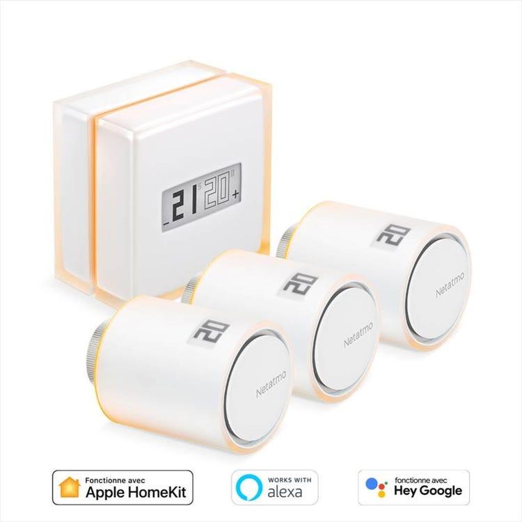 Pack Thermostat connecté Netatmo + 3 Têtes Thermostatiques