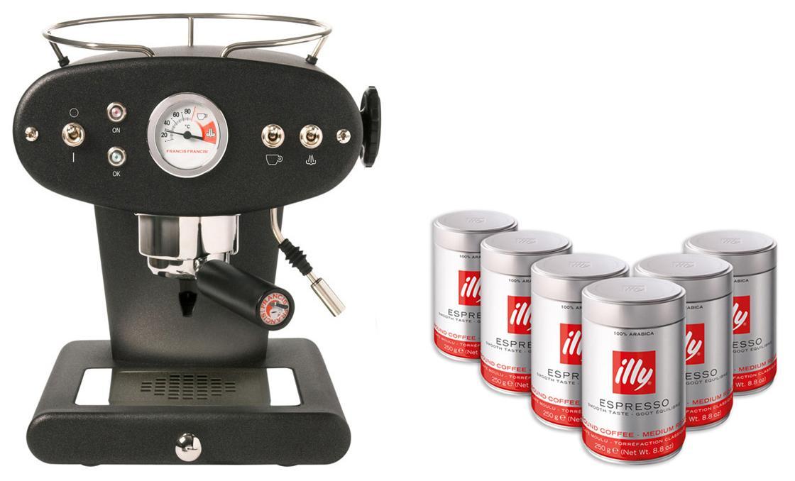 Machine à Expresso Illy X1 + 6 boites de Café moulu 250g (torréfaction moyenne)