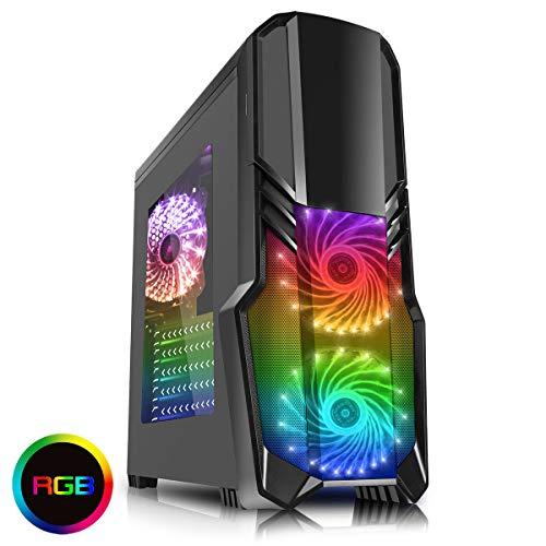 Boitier PC ATX, Gamer CiT G Force avec Ventilateur Avant 15 LED