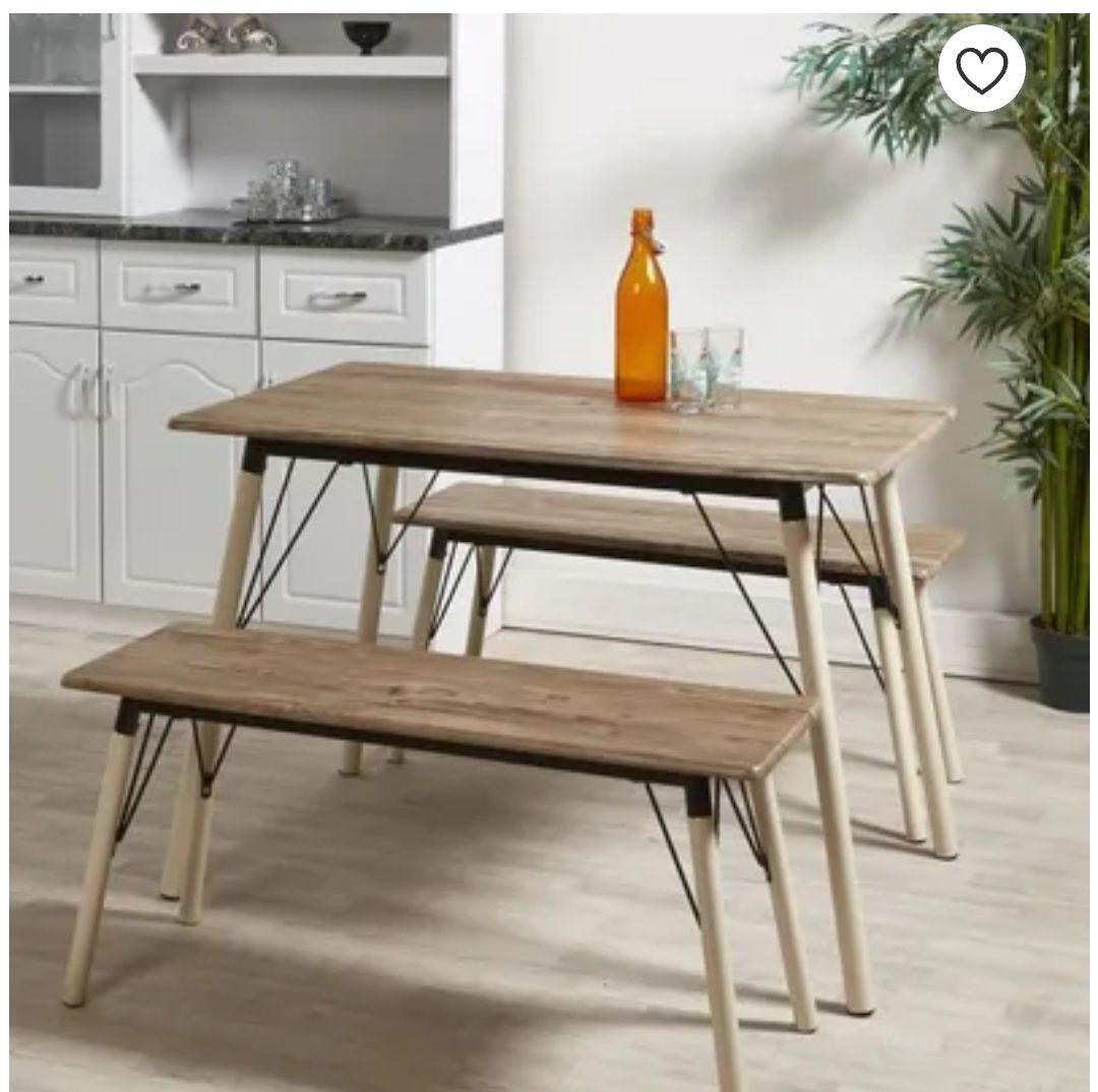 Ensemble table + 2 bancs Brantford - Table : L 110 x l 70 cm, Bancs : L 100 x P 35 cm