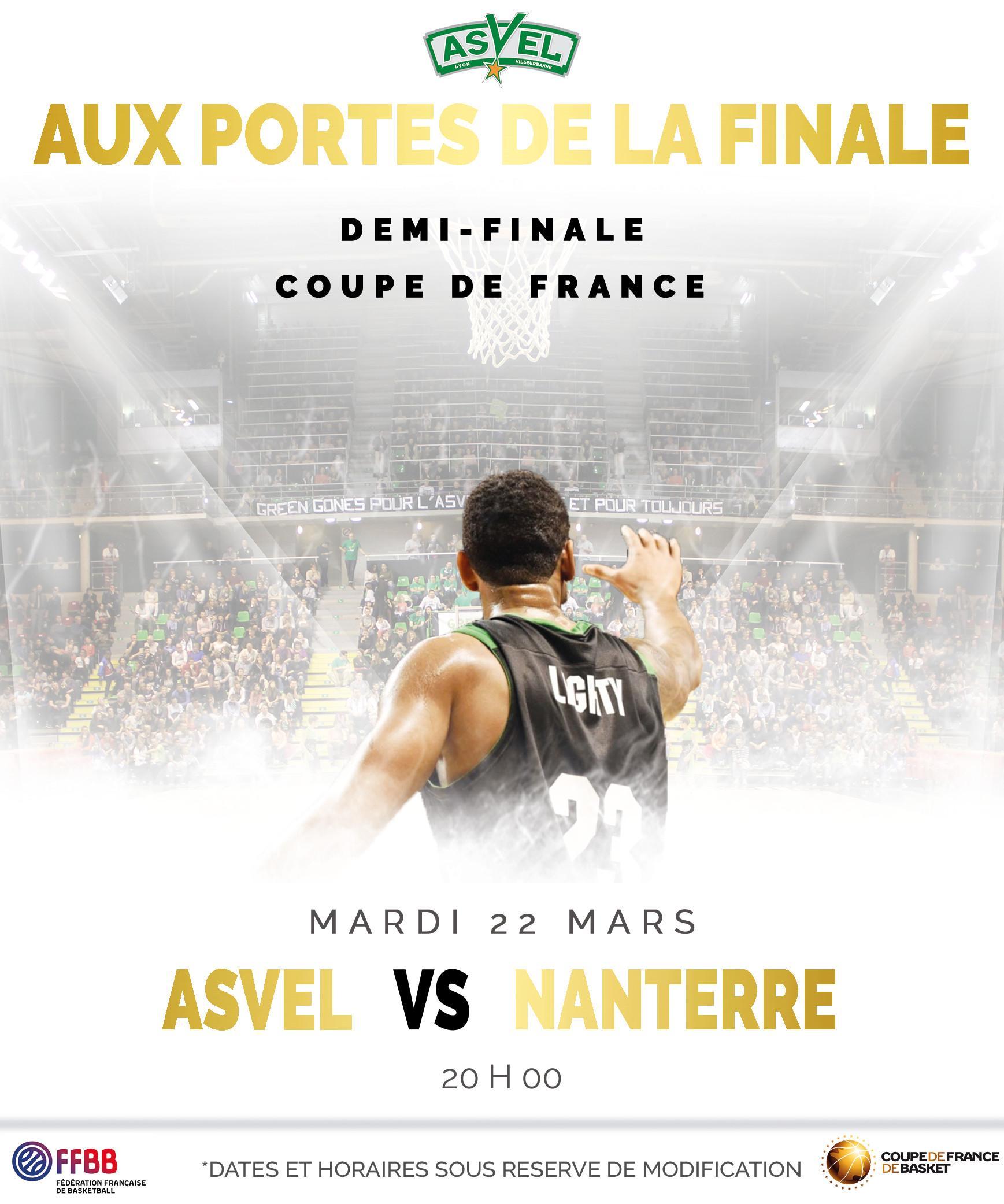 Place pour le Match (1/2 Finale de Coupe de France) Asvel - Nanterre le mardi 22 mars 20h