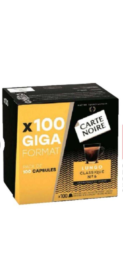 Boîte de 100 capsules de café Carte Noire compatibles Nespresso (différentes variétés disponibles)