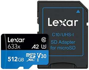 Carte MicroSDXC Lexar Professional High-Performance 633x, 512 Go + Adaptateur SD - UHS-I A2, V30, U3