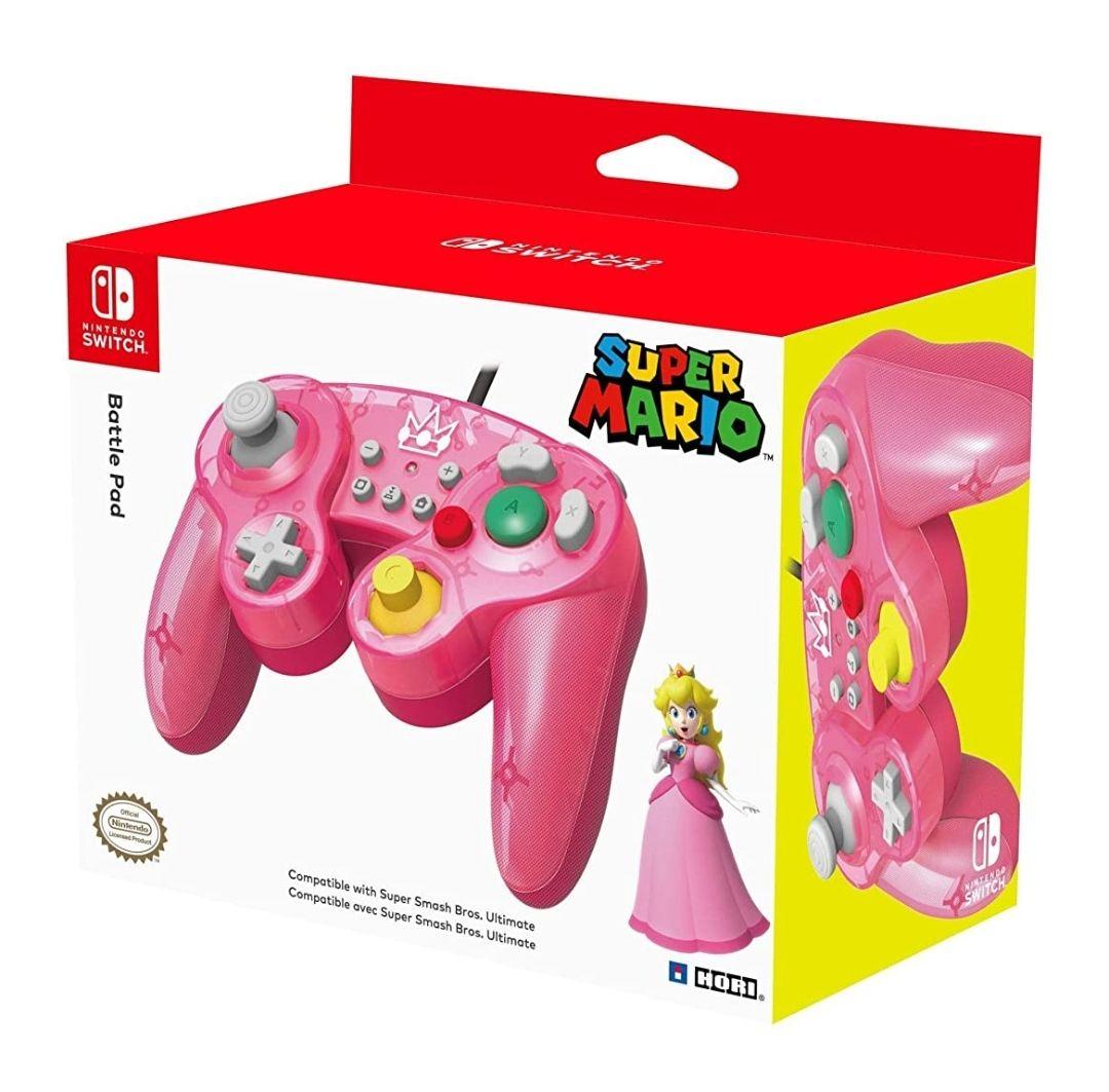 Manette filaire officielle HORI Battle Pad (Peach) - style GameCube pour Nintendo Switch