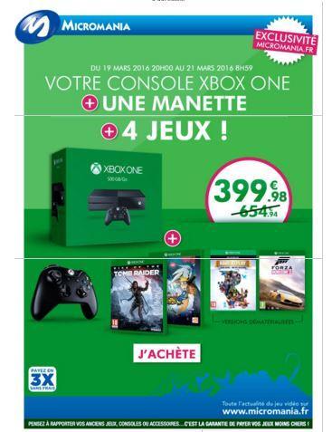 Console Xbox One 500 Go + 2ème manette + Rise of The Tomb Raider + Naruto S4 + Forza Horizon 2 & Rare Replay (Dématérialisé)