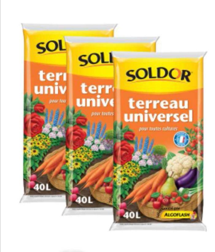 Lot de 3 sacs de 40 litres de Terreau Universel Soldor Algoflash (3x 40L)
