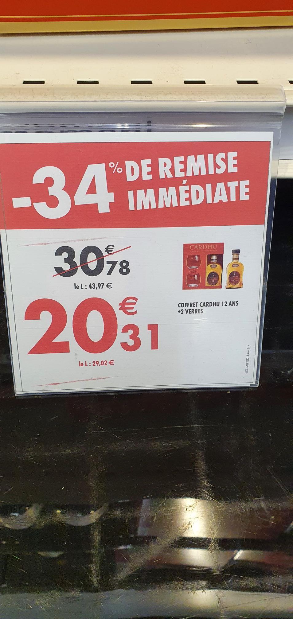 Coffret Bouteille de Whisky Cardhu 12 Ans (70cl) + 2 verres - Carré Senart (77)