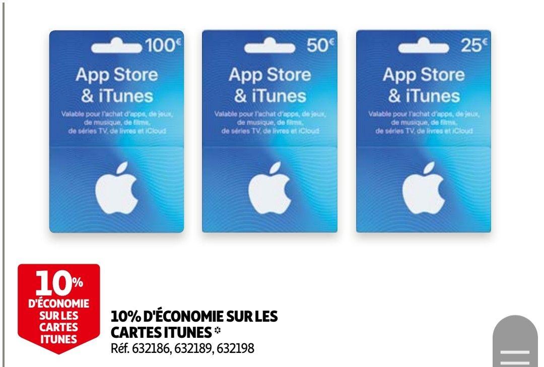 10% de réduction sur les cartes App Store & ITunes (Dématérialisé)