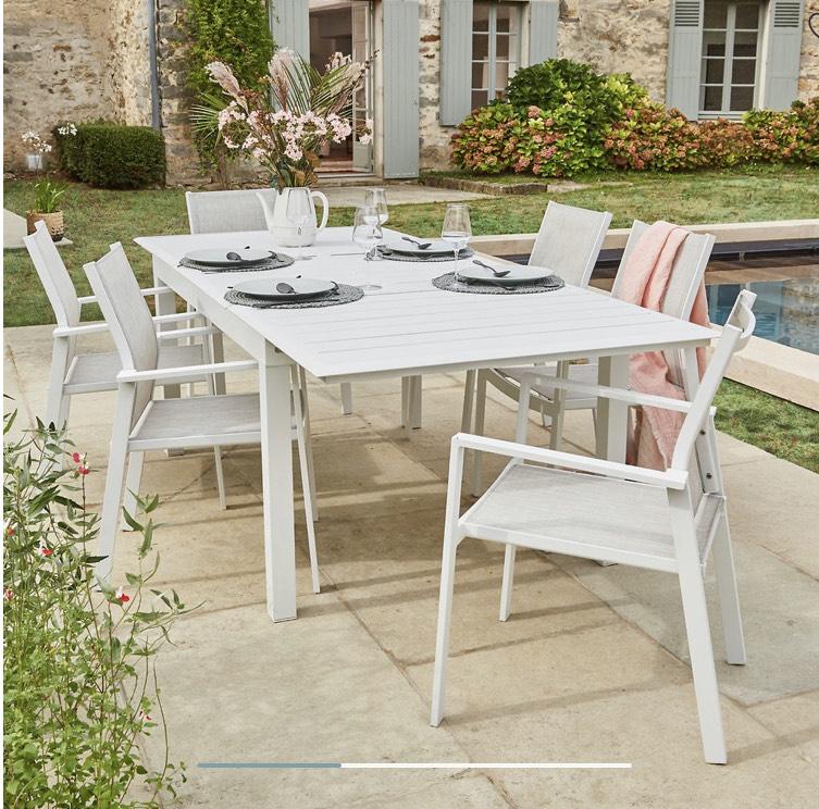 Table en aluminium extensible Gina - 156 à 232 cm