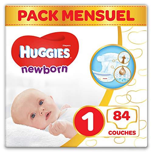 Sélection de couches en promotion - Ex: Pack 1 mois Couches bébé Huggies - Taille 1 (2-5 kg), 84 couches