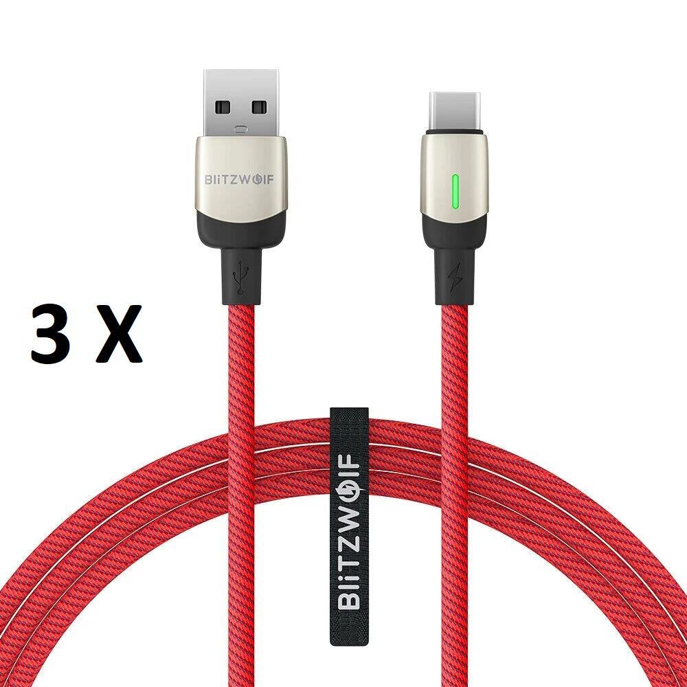 Pack de 3 Câbles Type-C BlitzWolf BW-TC21 - QC 3.0 3A, Nylon tressé, Indicateur LED (1 mètre)