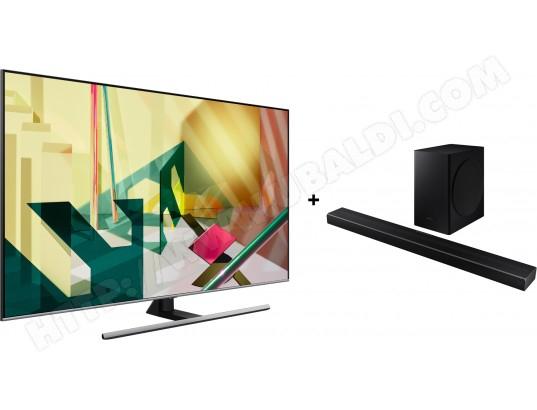 """Pack TV 65"""" SamsungQE65Q74T (4K UHD, QLED, Smart TV) + barre de son Samsung HWQ60T (via ODR de 400€)"""