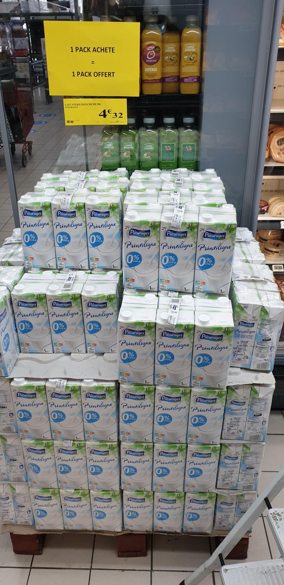 Lot de 2 packs de 6 briques de lait Pâturages Printiligne (12x 1L) - Modane (73)
