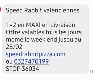 1 pizza achetée = 1 offerte - Speed Rabbit Valenciennes (59)