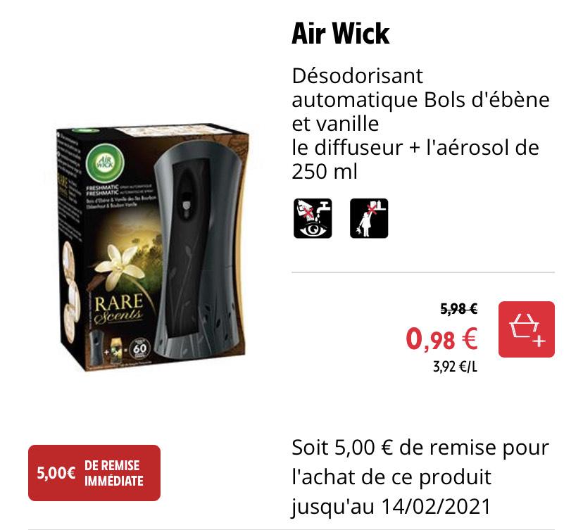 Désodorisant automatique Air Wick Bols d'ébène et vanille: diffuseur + aérosol de 250 ml (dans une sélection de magasins)
