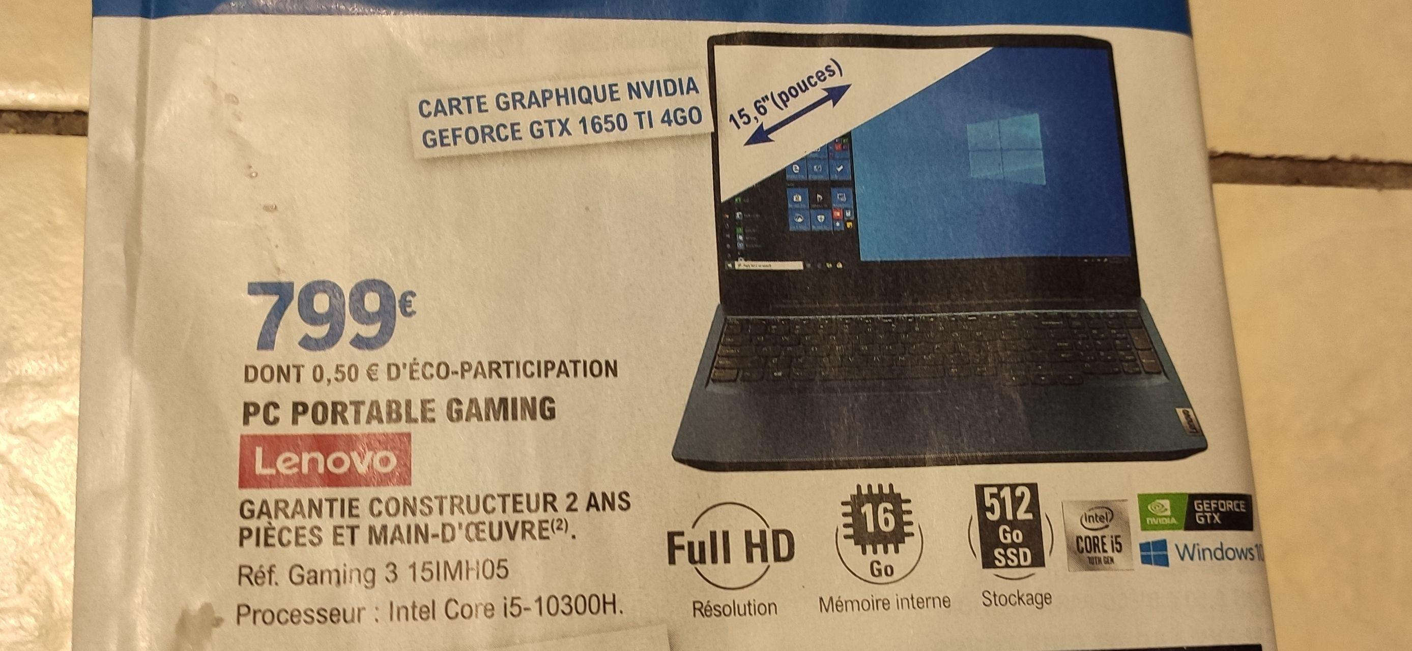 "PC Portable 15.6"" Lenovo IdeaPad Gaming 3 15IMH05 - Full HD 120 Hz, i5-10300H, RAM 16 Go, GTX 1650 Ti, Windows 10"